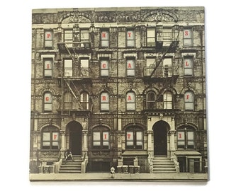 "Led Zeppelin, ""Physical Graffiti"", vinyl record album, die cut, classic rock LP, 1970s, Jimmy Page, Robert Plant, kashmir, custard pie"