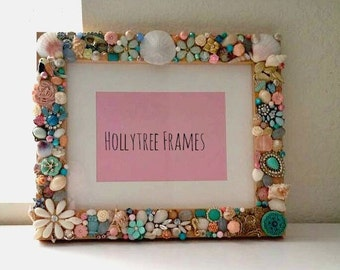 Gorgeous Pastel Embellished Picture Frame with Vintage Jewelry, Shells, Beads