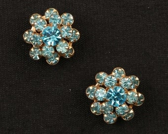 """1950's Gorgeous Prong Set Aqua/Turquoise, Triple Layer Rhinestone, Gold Tone,  Set of Two Scatter Pins, Near MINT, 1/2"""" W, Roll Over Clasp."""