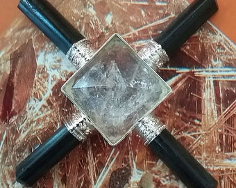 5 Stone BLACK TOURMALINE and Crystal Quartz Pyramid Energy GENERATOR With 4  Points, Sacred Geometry,  Reiki