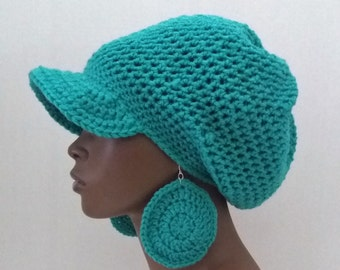 Crochet Brimmed Rasta Tam and Earrings Set, Turquoise Medium Dreadlock Tam with Brim, Teal Medium Beret with Brim, Large Newsboy Hat Set