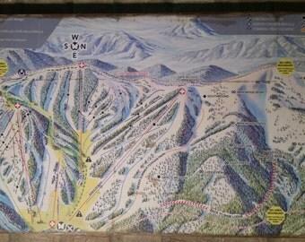 Antiqued Monarch Mountain Ski Trail Map
