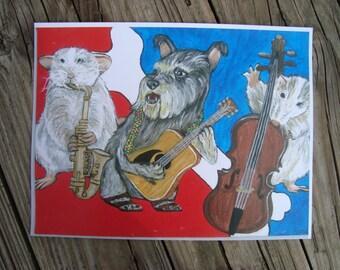 RATDOG ART PRINT / Bob Weir / Rat dog Tour Painting / Paper Print