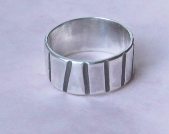 Silver Ring - Silver Band - Handmade Ring - Textured Silver Ring - Men's Ring - Women's Ring -Dynamic Lines Ring