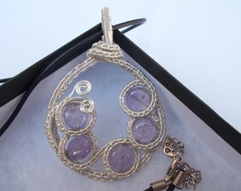 Amethyst wire wrapped pendant , Wire wrapped handmade jewellery , Gemstone jewellery , Wire jewellery , Febuary birthstone , Gift for her