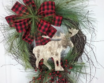 Rustic Christmas Wreath, Birch Moose Wreath, Birch Wreath, Red and Black Check Flannel Ribbon, Country Lodge Wreath, North Country Wreath