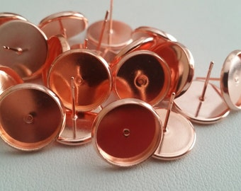 Rose gold 12 mm tray cabochon earring setting 10pcs