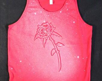 Rose Splatter Tank Top Red