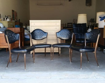 Vintage Set 1950's Virtue Brothers California Dining Chairs MCM Mid Century Modern Dinette Black Vinyl