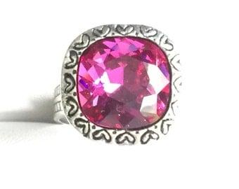 Fuchsia Crystal Ring, Swarovski Fuchsia Ring, Swarovski Pink Crystal Ring