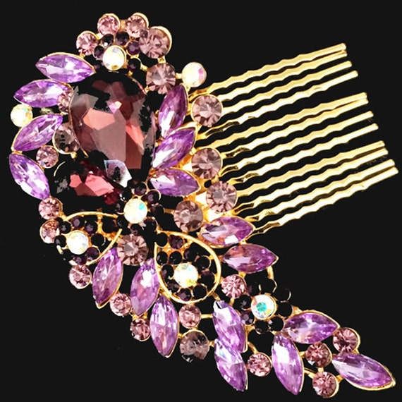 Elegant Bridal Set Heavy Gold Plated Diamante Crystal: Gold Purple Vintage Style Hair Comb Encrusted Clear Crystals