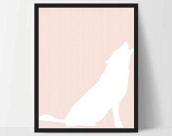 Animal Wolf Wall Art, Unframed, Artwork, Home Decor, Modern Contemporary, Print Art, Boho, Nursery, Baby, Pink Salmon, 12x16 Inches