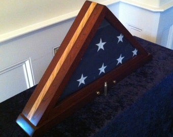 Memorial Flag Display Case w/ Embedded Shell Casings: Maple inlay