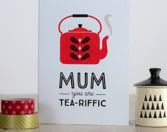 Retro Mothers Day Card, Love Mum, Mum Birthday Card, Scandinavian Tea Pot Kettle Card, Catherine Holm, Mid Century, Card for tea lover