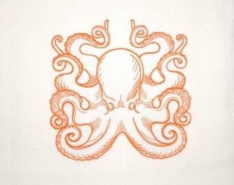 Octopus, octopus plush, octopus bathroom, sea creature, octopus wall hanging, beach kitchen towel, beachy kitchen decor, ecofriendly towel