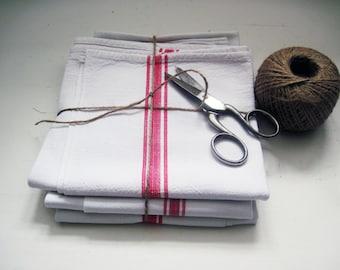 French Linen Tea Towel Red Stripes Vintage