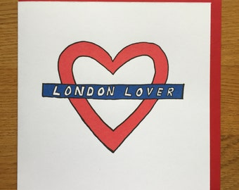 Valentines Day Card,   alternative cards, Love card, London love, London  underground