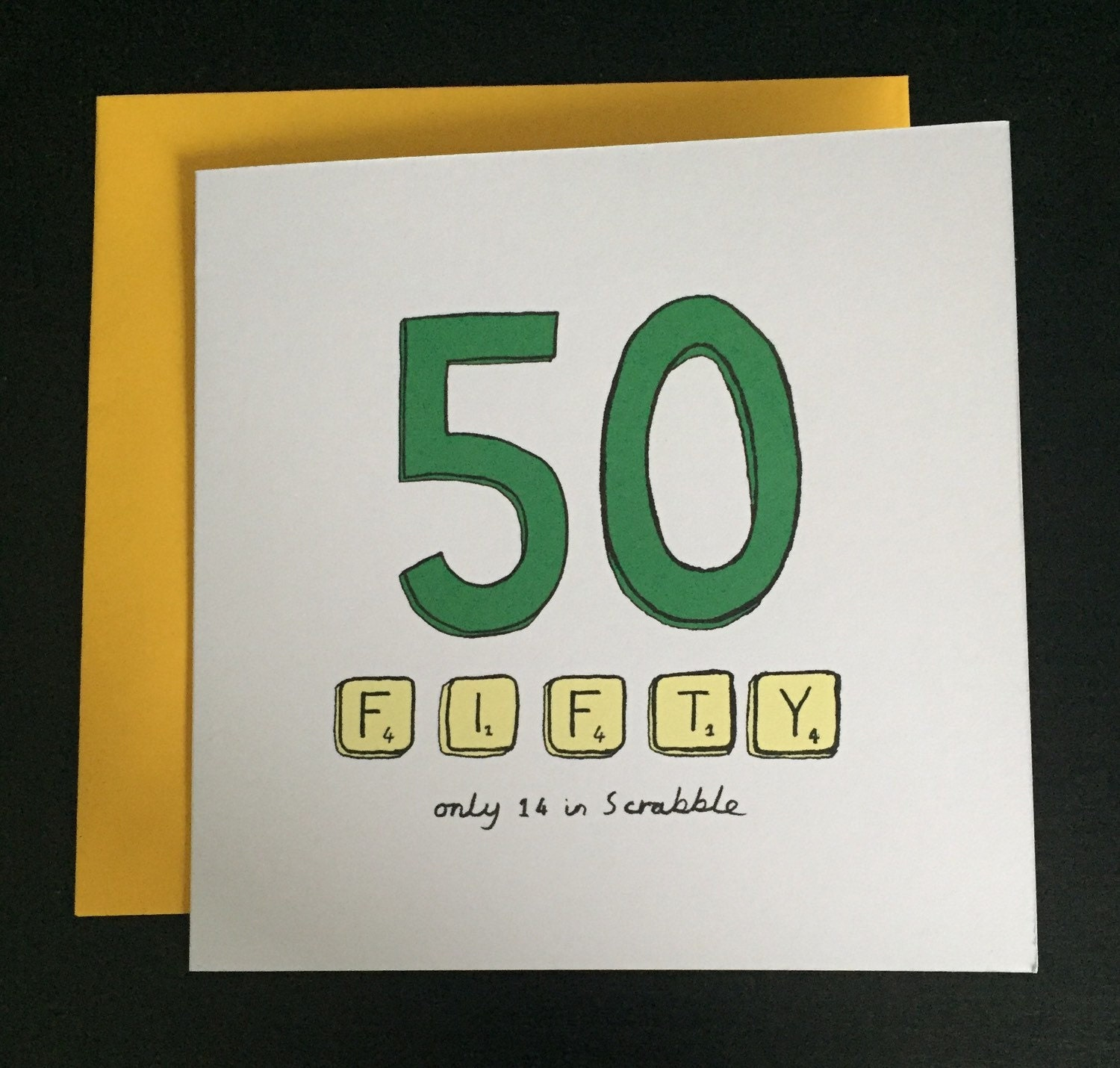 Funny 50 Year Old Birthday Cards Fiftieth Card 50th Scrabble Happy By Asodesigns