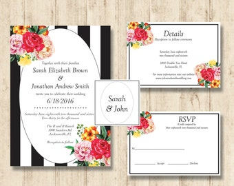 Black and White Floral Invitation Suite