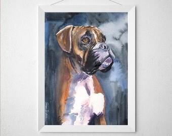 Boxer watercolor Print of the Original painting Dog  warecolor Decor Nice Sweet
