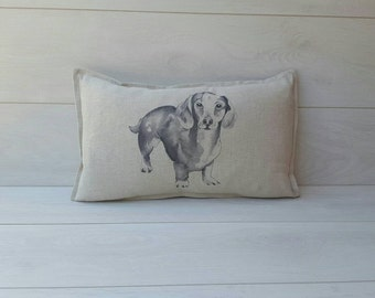 Linen dachshund Cushion cover ~oblong linen sausage dog pillow cover~ dachshund gifts, dog lovers, wiener dog, dachshund cute, wiener pillow