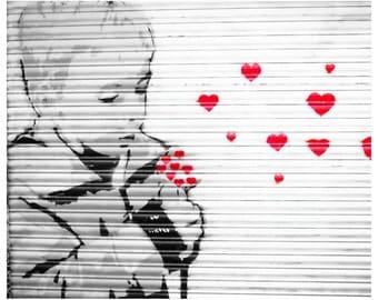 street art, street art print, street art photography, 8x10, wall art, red hearts, London street art, stencil art