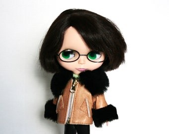 Blythe jacket Brown doll Jacket Leather blythe clothes Doll outfit Brown blythe doll cloth Brown doll outfit