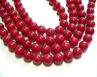 8mm Red Beads True Red Mountain Jade Opaque Red Stone 48-50 Pieces 8mm Round Stone Beads 8mm Jade 16 Inch Strand Uniform beads red jewelry