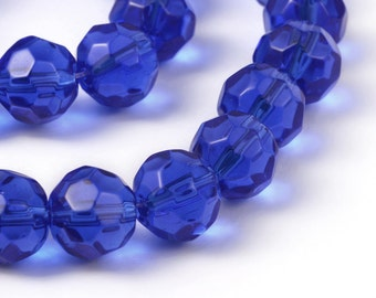 10mm Sapphire Blue Beads Faceted Dark Blue Glass Round Crystals 13 Inches Fire Polished 32 Beads Dark Sapphire Blue Glass