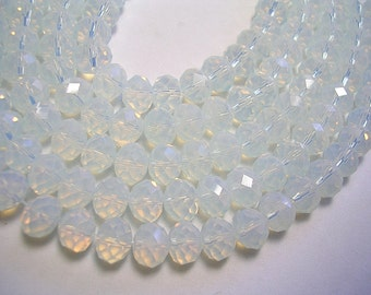 6mm X 8mm Crystal Rondelles 8mm Faceted Moonstone Beads Clear Prism Crystal Rondelles Sparkly Crystals 70 Beads Crystal Jewelry Opalite