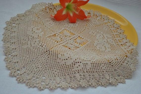 Gros crochet napperon avec roses et napperon en dentelle coton - Napperon dentelle crochet ...