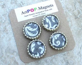 4pc magnet set, Black Damask design, strong fridge magnets