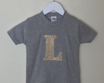 Childrens initial T shirt, glitter initial T shirt, 1st birthday T shirt by Two little peas and me