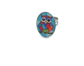owl ring, owl jewellery, adjustable ring, brass ring, handmade, children gift, owl lover