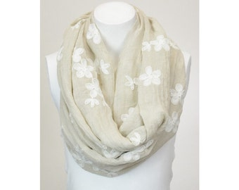 Womens Floral Embroidery  Infinity Scarf, Accent Scarf, Fashion Scarf, Floral Print Scarf, Gift For Her, Soft Lightweight Scarf