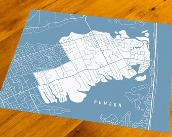 Rumson, NJ - Map Art Print  - Your Choice of Size & Color!