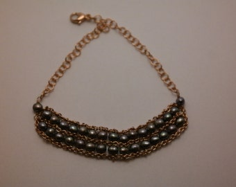 bracelet with double row of pearls