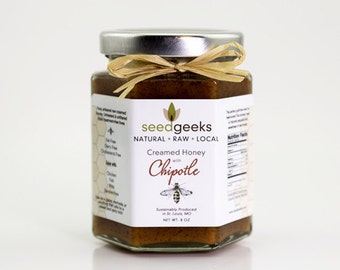 Artisan Raw Chipotle Creamed Honey - 8oz - All natural, treatment free
