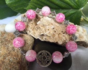 Beaded Bracelet,Pink Beaded Bracelet