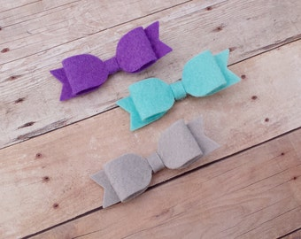 CHOOSE ANY THREE / 40+ Colors - Mini Wool Felt Hair Bow Clip Trio Set / Felt Hair Bow Clip / Felt Bow Clip Set / Mini Felt Hair Bow Clips /