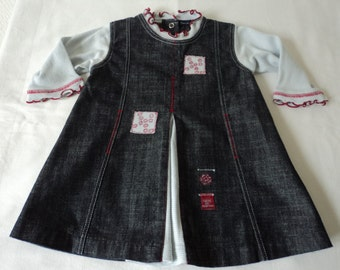 French vintage denim babies dress (03078)