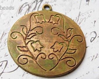 Patina Flower Pendant, Patina Beads, Beads