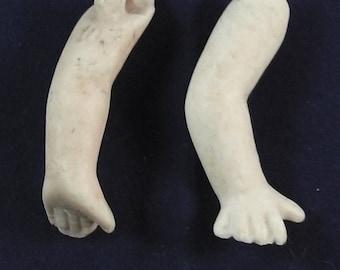 "antique german bisque doll arms, Kewpie style, 1.50"""