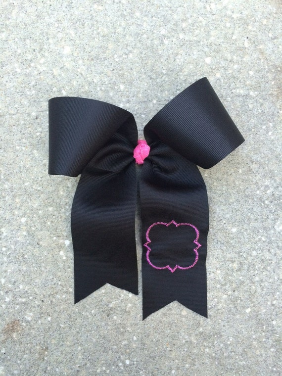 Black Cheer Bow Quatrefoil Design Sorority Bow Phi Mu
