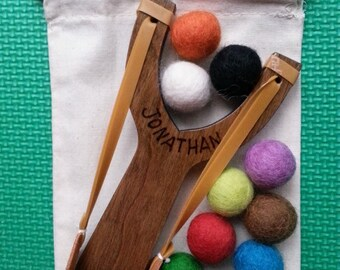 Personalized Handmade Wooden Slingshot. Great Birthday Gift.