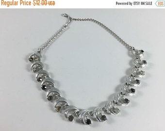 SALE Vintage Flower Necklace Retro Costume Jewelry Silver Toned Rhinestone Choker