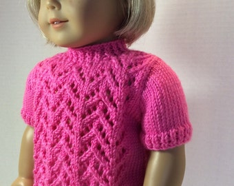 Madeline-- Short Sleeve Sweater Pattern for American Girl -PDF