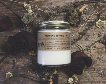 Morning Coffee Scented Soy Candles Artisanal Small Batch Hand Poured Made in New England Soy Candle