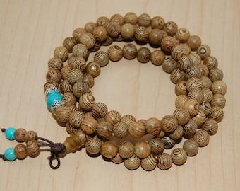 Wood Necklace,Buddhist Necklace,Spirituality,108 Mala Wood Beads,Stretch,Wenge Wood Necklace,Man,Woman,Yoga Bracelet,Protection,Meditation