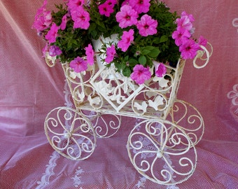 Cast Iron Flower Cart Display, Plant Stand, Carriage Style